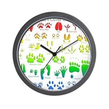 Rainbow 3D Animal Tracks Wall Clock