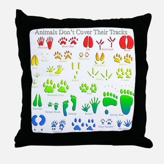 Rainbow 3D Animal Tracks Throw Pillow