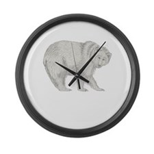 Grizzly and Tracks Large Wall Clock