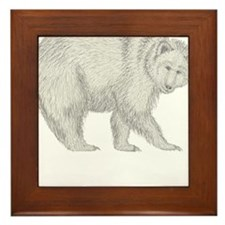 Grizzly and Tracks Framed Tile