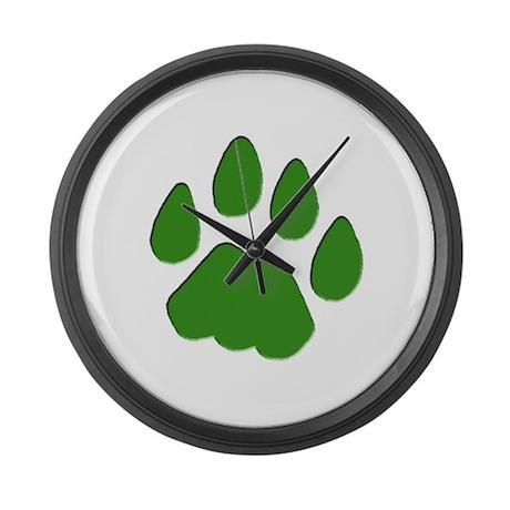 Green Cougar Track Large Wall Clock