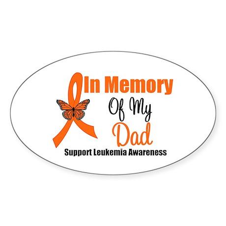Leukemia In Memory Dad Oval Sticker (10 pk)