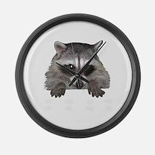 Raccoon and Tracks Large Wall Clock