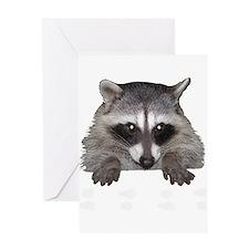 Raccoon and Tracks Greeting Card