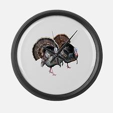 Wild Turkey Pair Large Wall Clock