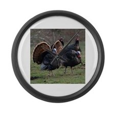 Four Gobblers Large Wall Clock