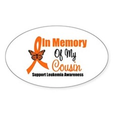 Leukemia In Memory Cousin Oval Decal