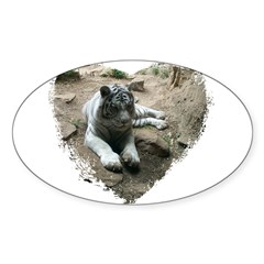 tiger in heart Oval Decal
