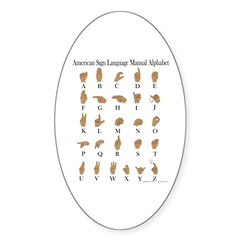 Sign Language Alphabet Sticker (Oval)