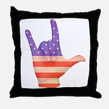 USA Flag ILY sign language hand Throw Pillow