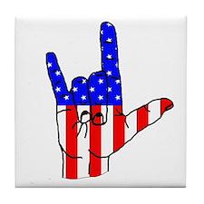 I Love USA Sign Language hand Tile Coaster