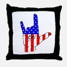 I Love USA Sign Language hand Throw Pillow