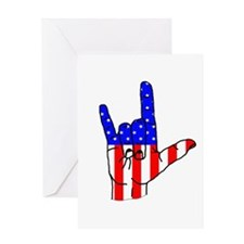 I Love USA Sign Language hand Greeting Card