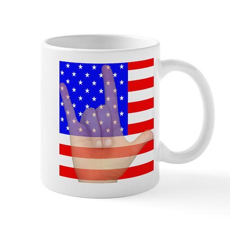 Flag and ASL ILY Hand Mug