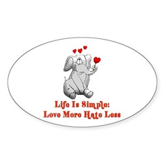 Love More Hate Less Oval Sticker (50 pk)