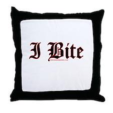 I Bite Throw Pillow