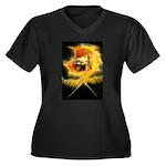 Ancient Women's Plus Size V-Neck Dark T-Shirt