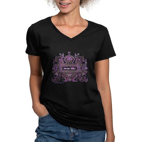Swan Lake Crest Women's V-Neck Dark T-Shirt