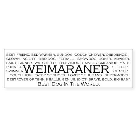 Weimaraner - Best dog in world bumper sticker.