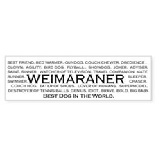 Weimaraner - Best dog in world bumper sticker.