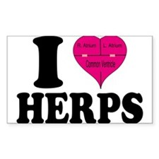 I Heart Herps Rectangle Sticker 10 pk)