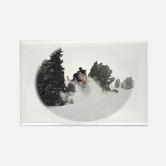 Flying Through Snow Rectangle Magnet