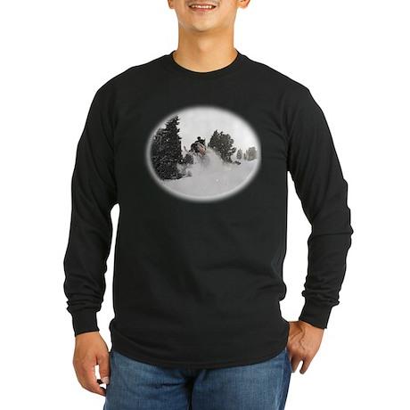 Flying Through Snow Long Sleeve Dark T-Shirt