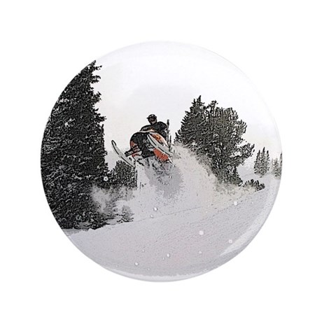 "Flying Through Snow 3.5"" Button"