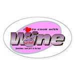 I Love Wine Oval Sticker (50 pk)
