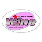 I Love Wine Oval Sticker (10 pk)