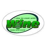 I Love Wine Oval Sticker