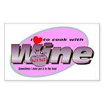 I Love Wine Rectangle Sticker