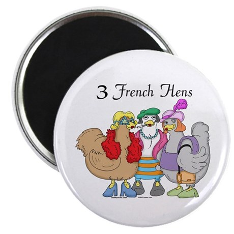 "3 French Hens 2.25"" Magnet (10 pack)"