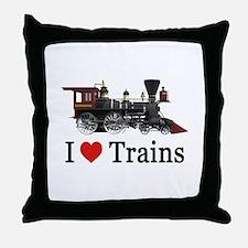 I LOVE TRAINS Throw Pillow