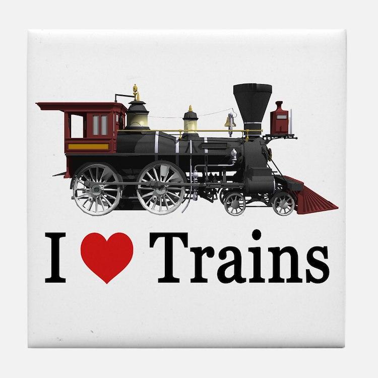 I LOVE TRAINS Tile Coaster