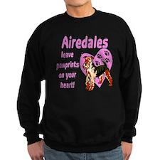 Airedales Pawprints Heart Sweatshirt