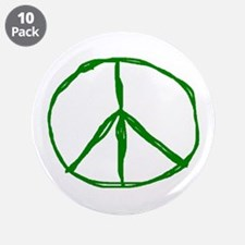 """Peace - Green 3.5"""" Button (10 pack)"""
