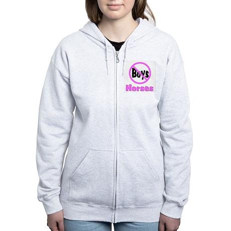 No Boys - Horses Women's Zip Hoodie