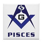 Masonic Pisces Sign Tile Coaster