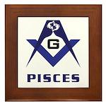 Masonic Pisces Sign Framed Tile