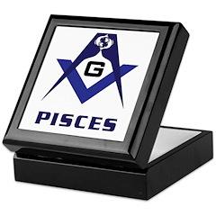 Masonic Pisces Sign Keepsake Box