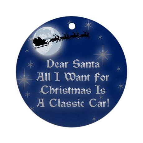 A Classic Car Christmas Ornament (Round)