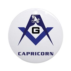 Masonic Capricorn Sign Ornament (Round)