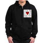 I Love (heart) Jewish Boys Zip Hoodie (dark)