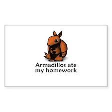 Armadillos ate my homework Rectangle Decal