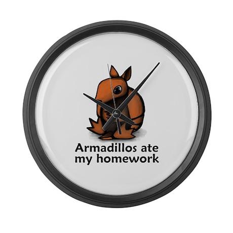 Armadillos ate my homework Large Wall Clock