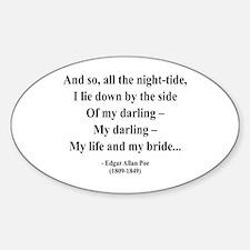 Edgar Allan Poe 21 Oval Decal