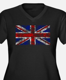 Union Jack Women's Plus Size V-Neck Dark T-Shirt