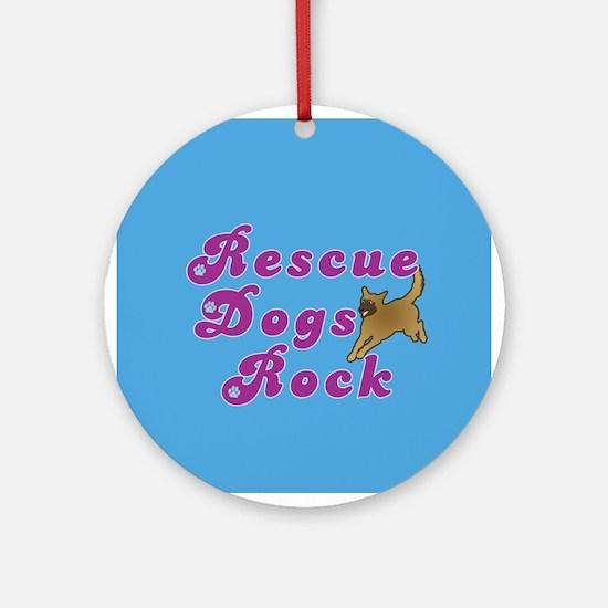 Rescue Dogs Rock v2 Ornament (Round)