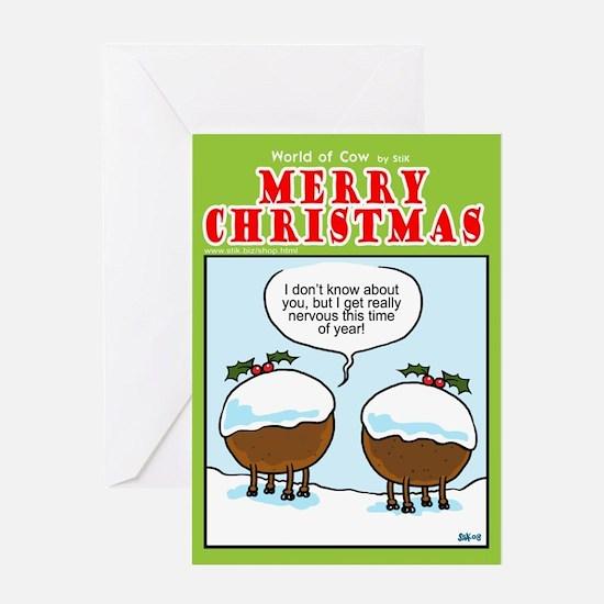 Christmas Pudding Cows Greeting Card